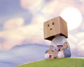 Обои Пакет на голове: Рисунок, Мальчик, Коробка, Настроения