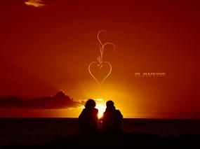 Обои Пара на закате: Закат, Пара, Влюбленные, Настроения