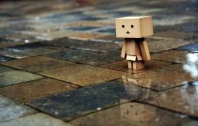Обои Danbo: Дождь, Плитка, человечек, Danbo, Настроения