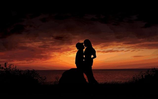 Парень и девушка на закате