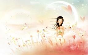 Обои Ветер сердец: Девушка, Любовь, Сердце, Ветер, Настроения