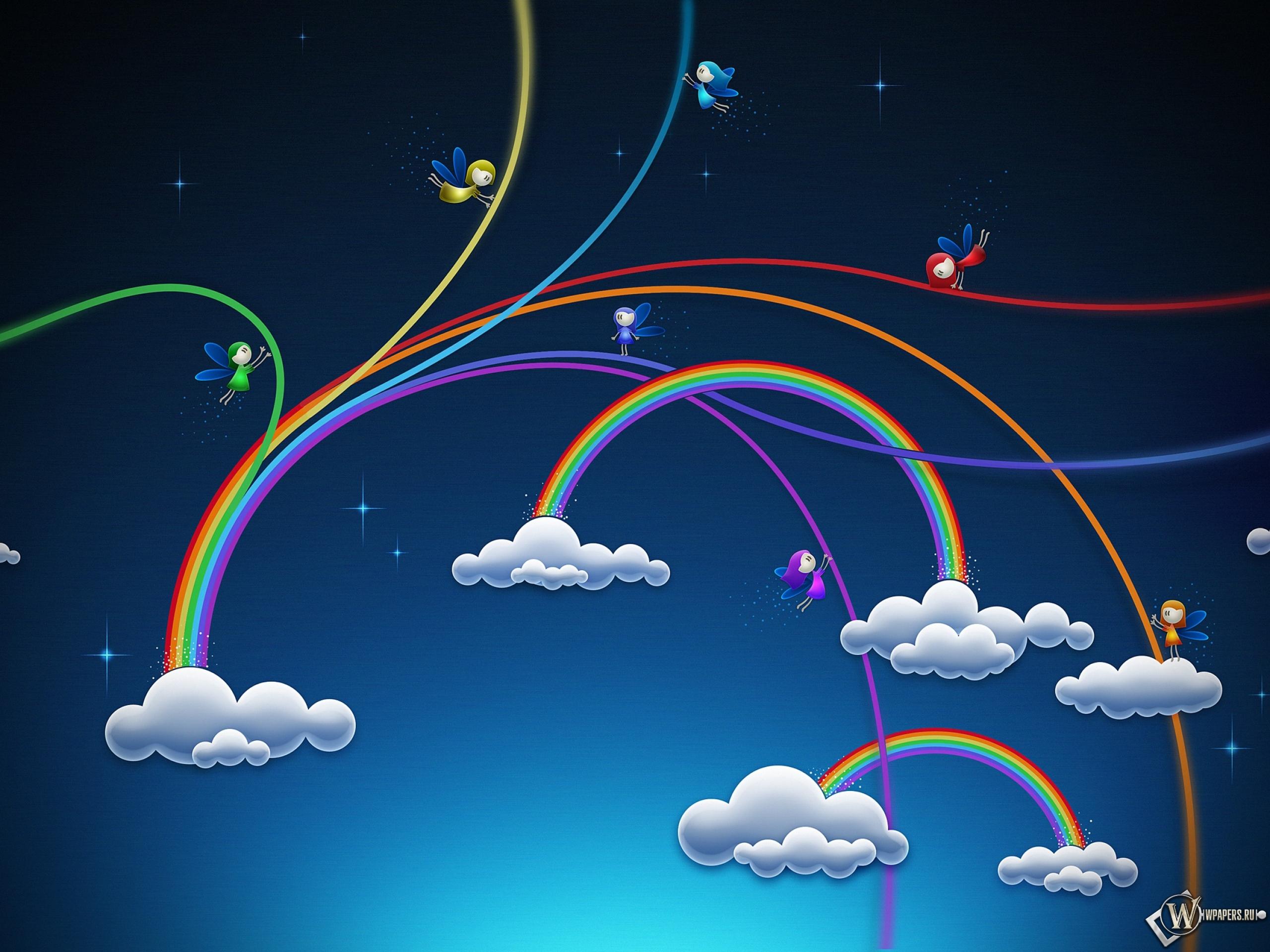 Обои радужные облака облака радуга