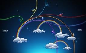Обои Радужные облака: Облака, Радуга, Эльфы, Настроения