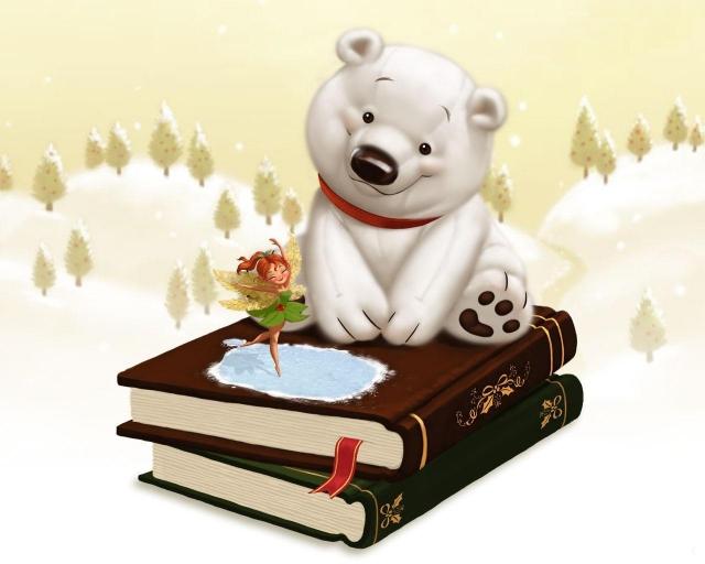 Белый мишка на книгах