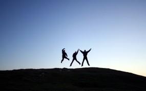 Обои Прыжок: Небо, Прыжок, Люди, Радость, Настроения