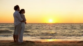 Обои Любовь на море: Море, Закат, Женщина, Мужчина, Настроения