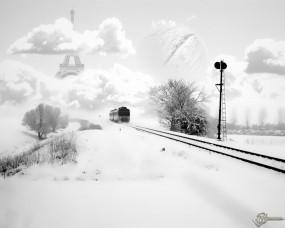 Обои Поезд в Париж: Железная дорога, Рельсы, Шпалы, Поезд, Настроения