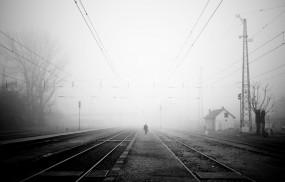 Обои Железная Дорога в тумане: Грусть, Туман, Железная дорога, Настроения
