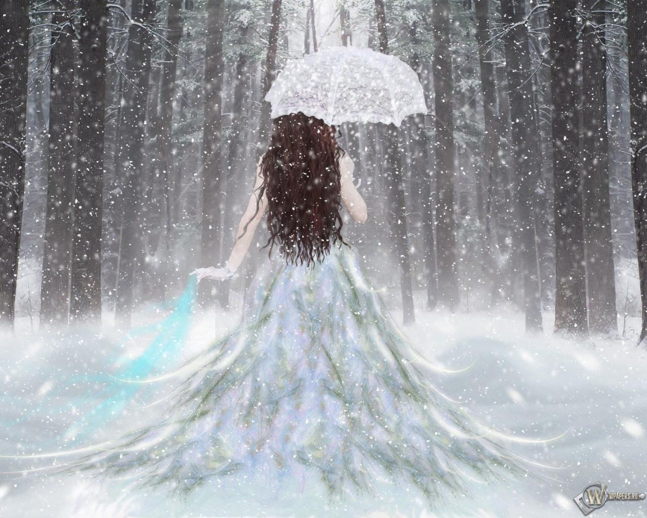 Обои девушка с зонтом зима снег лес