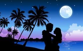 Обои Пара при луне: Пальмы, Любовь, Луна, Пара, Настроения