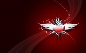 Обои Крылатое сердце: Шлейф, Сердце, Минимализм, Крылья, Настроения