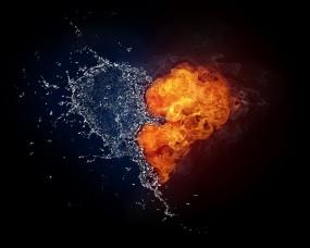 Обои Сердце из огня и воды: Вода, Огонь, Любовь, Сердце, Настроения