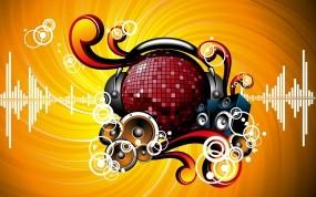 Обои музыка в сердце: Абстракция, Сердце, Наушники, Динамики, Ритм, Музыка