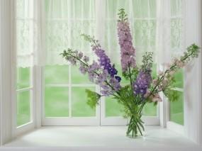 Обои цветы на окне: Окно, Букет, Ваза, Цветы