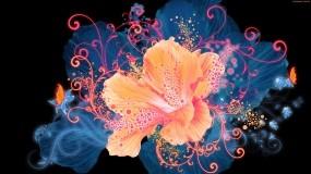 Обои Светящийся цветок: Цветок, Свечение, Графика, Цветы