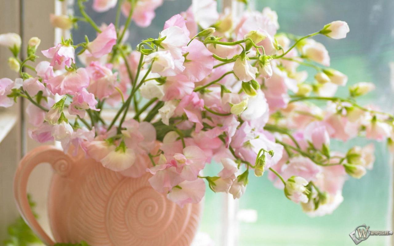 Обои цветы на окне окно цветы букет