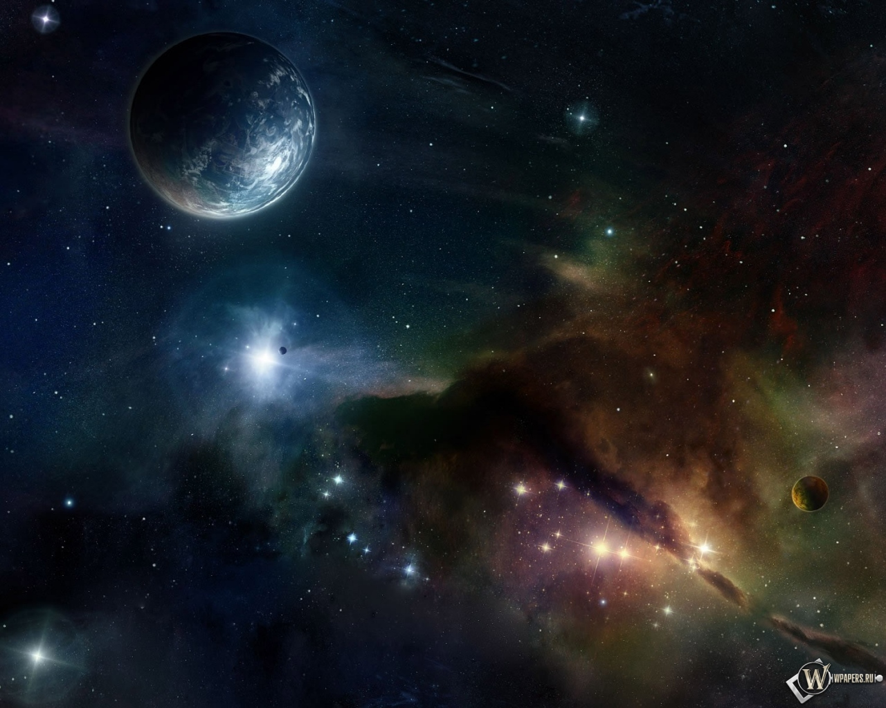 Обои космос планета звёзды 1280x1024