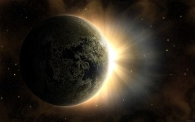 Обои Солнце за землей: Солнце, Земля, Планета, Звёзды, Космос