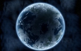 Обои Земля: Земля, Планета, Свечение, Тень, Космос