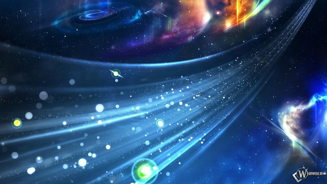 Космический поток 1366x768
