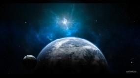 Обои Земля и луна: Космос, Луна, Земля, Космос