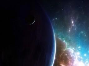 Обои Млечный путь: Планета, Звёзды, Галактика, Спутник, Космос