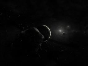 Обои Умирающая планета: Планета, Чёрный, Астероиды, Космос