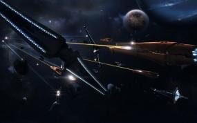 Обои Космическая баталия: Космос, Планета, Бой, Корабли, Космос