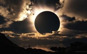 Обои Солнечное затмение: Облака, Свет, Солнце, Затмение, Космос