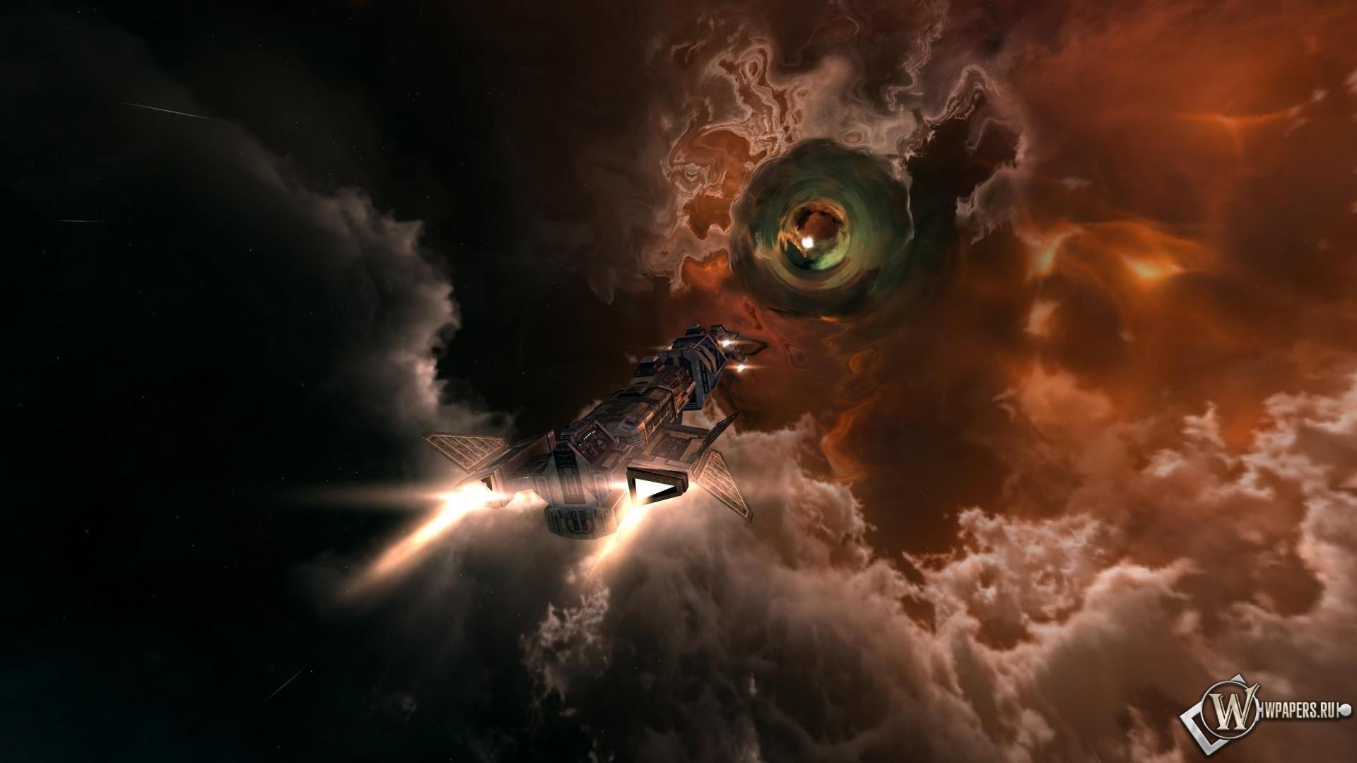 Обои взлетающий космический корабль