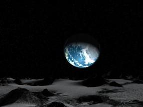 Обои Земля с луны: Луна, Земля, Планета, Звёзды, Космос
