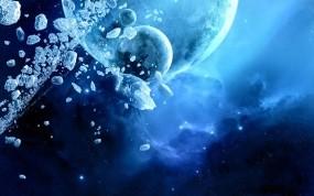 Обои Ледяные планеты далёких галактик: Лёд, Планета, Синий, Космос