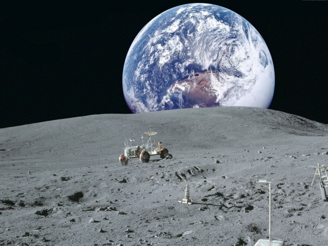 Вид Земли с Луны
