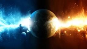 Обои Столкновение огня и воды: Вода, Огонь, Космос, Планета, Космос