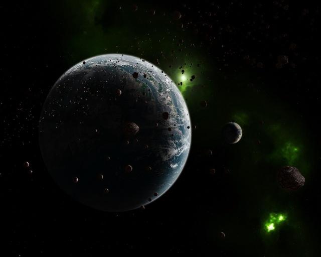 Планета с зелёными астероидами