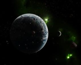 Обои Планета с зелёными астероидами: Космос, Планета, Астероиды, Космос