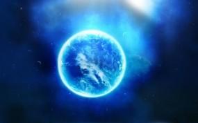 Обои Синяя планета: Космос, Планета, Свечение, Звезда, Космос