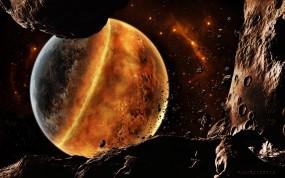 Обои Катастрофа в космосе: Космос, Планета, Метеориты, Обломки, Космос