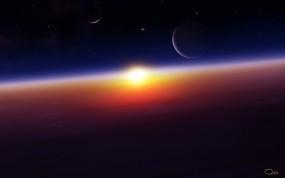 Обои Космический восход: Космос, Планеты, Восход, Космос