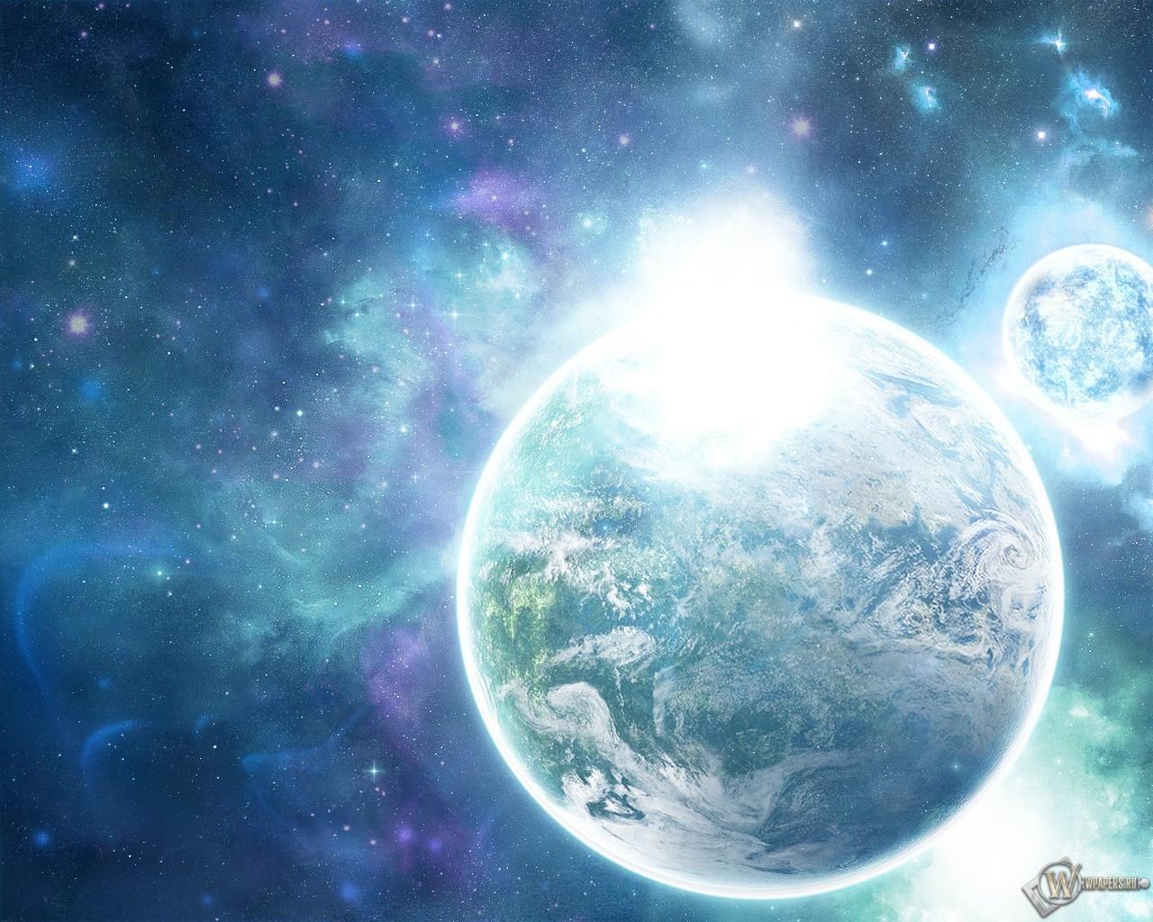 Обои планета земля сияние галактика
