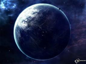 Обои Просторы вселенной: Орбита, Большая планета, Спутники, Млечный путь, Космос