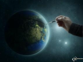 Обои Рисунок Земли: Сотворение мира, Художник, Планета, Вселенная, Космос