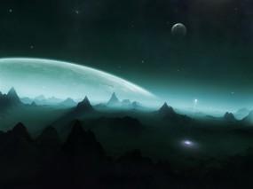 Обои Планета с горами: Горы, Ракета, Планета, Космос
