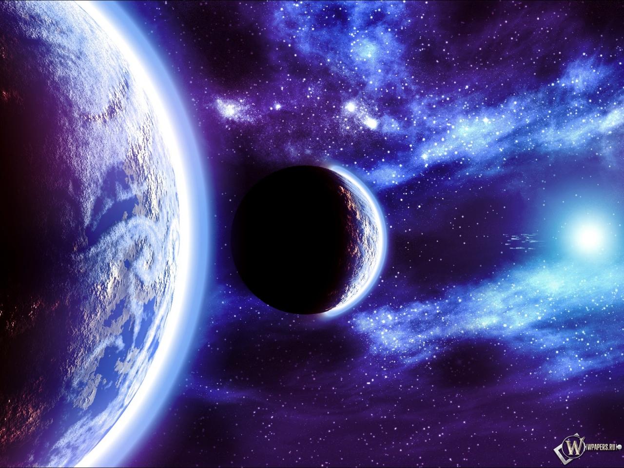 Обои космос свет планеты звёзды