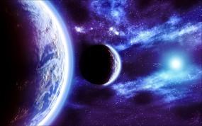 Обои Космос: Свет, Планеты, Звёзды, Свечение, Space, Blue, Fractal, Космос