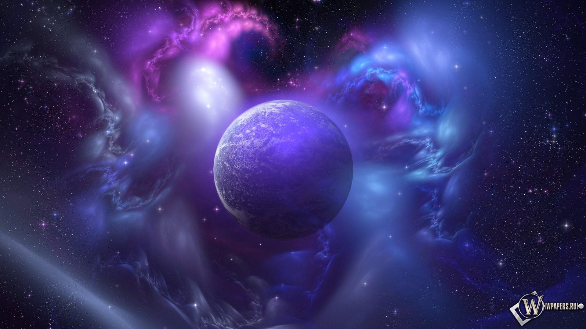 Обои фиолетовая планета на рабочий