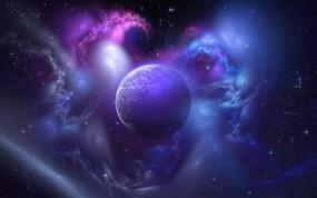 Обои Фиолетовая планета: Планета, Звёзды, Свечение, Небо, Фиолетовый, Космос
