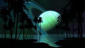 Обои Сатурн: Пальмы, Планета, Сатурн, Космос