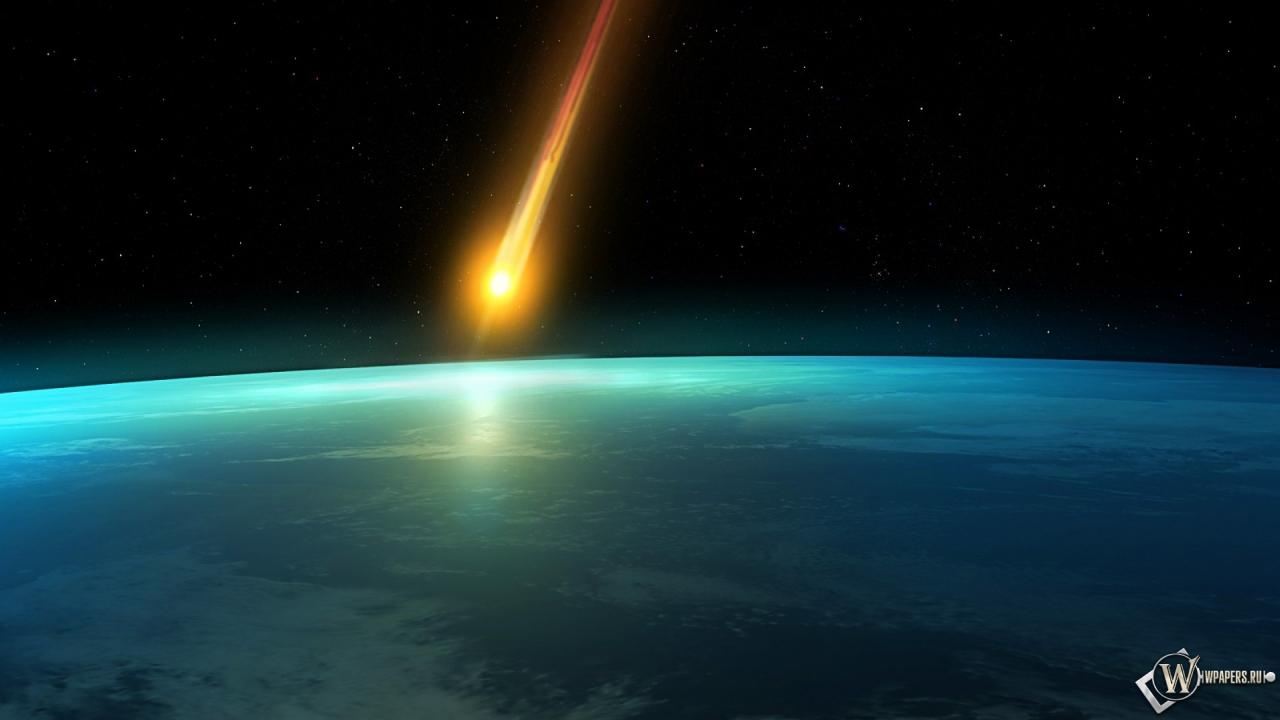Падающий метеорит 1280x720