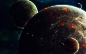 Обои Планеты: Планеты, Спутник, Корабли, Космос